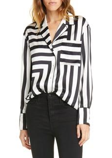 FRAME Mixed Stripe Silk PJ Blouse