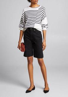 FRAME Mixed Stripe Sweater w/ Stitching