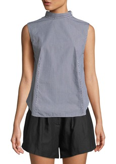 FRAME Mock-Neck Knotted Sleeveless Gingham Poplin Top