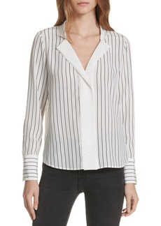 FRAME Notch Contrast Placket Silk Blouse