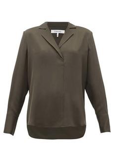Frame Notch-lapel collar silk-crepe blouse