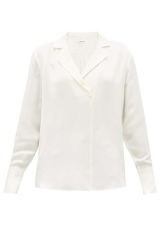 Frame Notch-lapel collar silk-crepe blouse