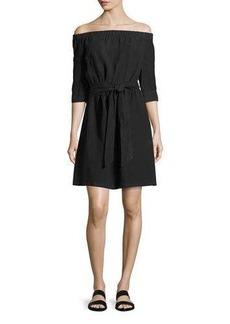 FRAME Off-the-Shoulder Linen Dress
