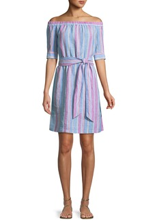 FRAME Off-the-Shoulder Striped Linen Dress