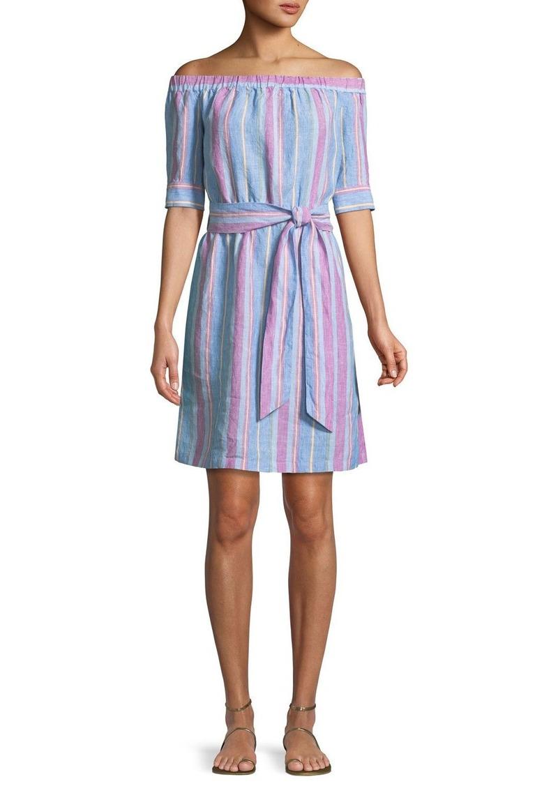 FRAME Off-the-Shoulder Striped Linen Dress