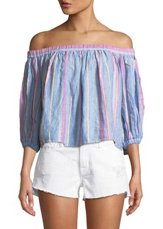 FRAME Off-the-Shoulder Striped Linen Top