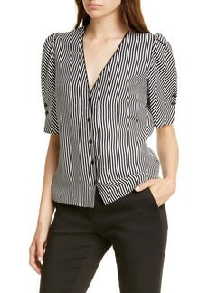 FRAME Olivia Stripe Silk Top (Nordstrom Exclusive)