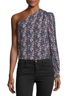 FRAME One-Shoulder Floral-Print Top