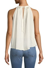 FRAME Open-Back Tie Pleated Linen Top