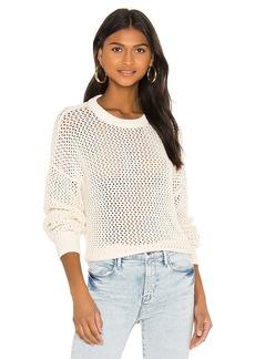 FRAME Open Knit Stripe Crew Sweater