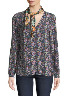 FRAME Open Scarf V-Neck Long-Sleeve Floral-Print Blouse