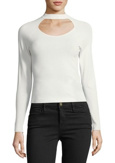 FRAME Open-Up Long-Sleeve Fitted Knit Top