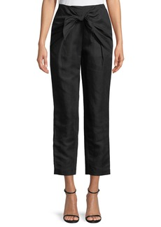 FRAME Overlap Knot Straight-Leg Linen Pants