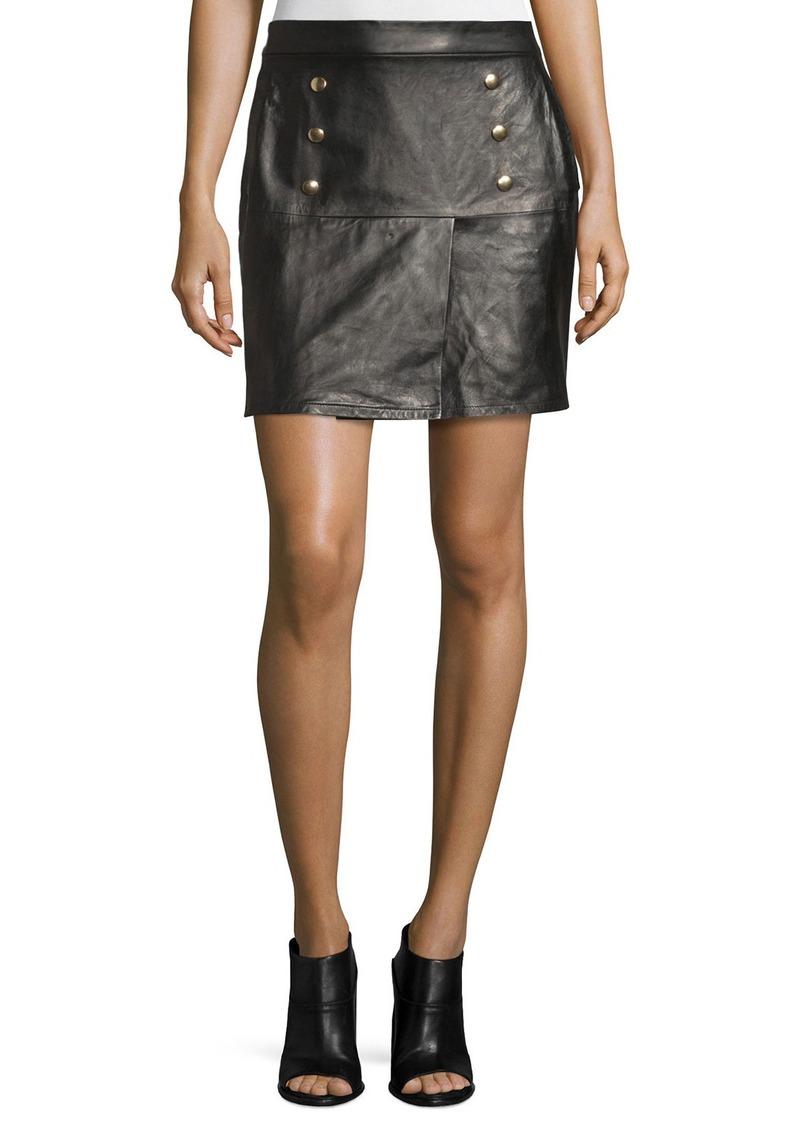 FRAME Overlay Leather Mini Skirt