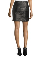 FRAME Overlay Leather Mini Skirt