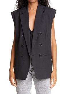 FRAME Oversized Double Breasted Linen Blend Vest