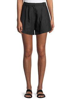 FRAME Oversized Pleated Linen-Blend Shorts