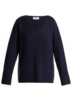Frame Oversized V-neck ribbed-knit sweater