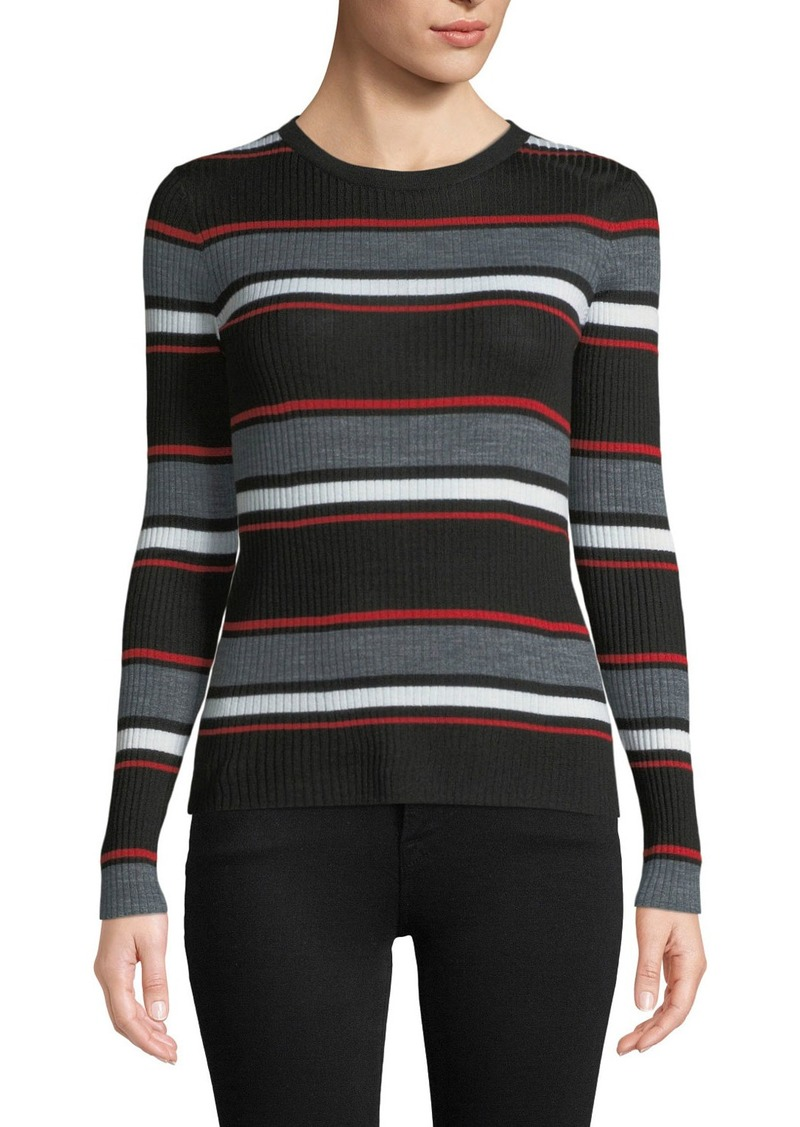 FRAME Panel Stripe Crewneck Long-Sleeve Top