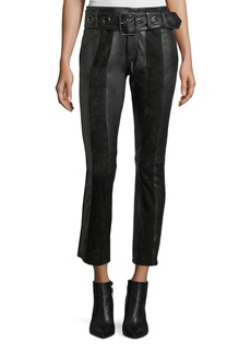 FRAME Paneled Suede & Leather Skinny Pants