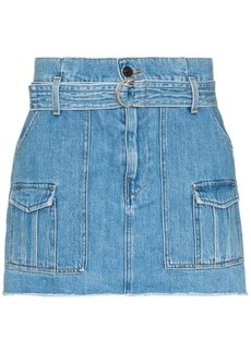 FRAME belted denim mini skirt