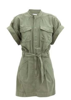 Frame Patch-pocket belted cotton shirt dress