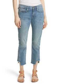 FRAME Patched Hem Straight Leg Jeans (Beaudry)
