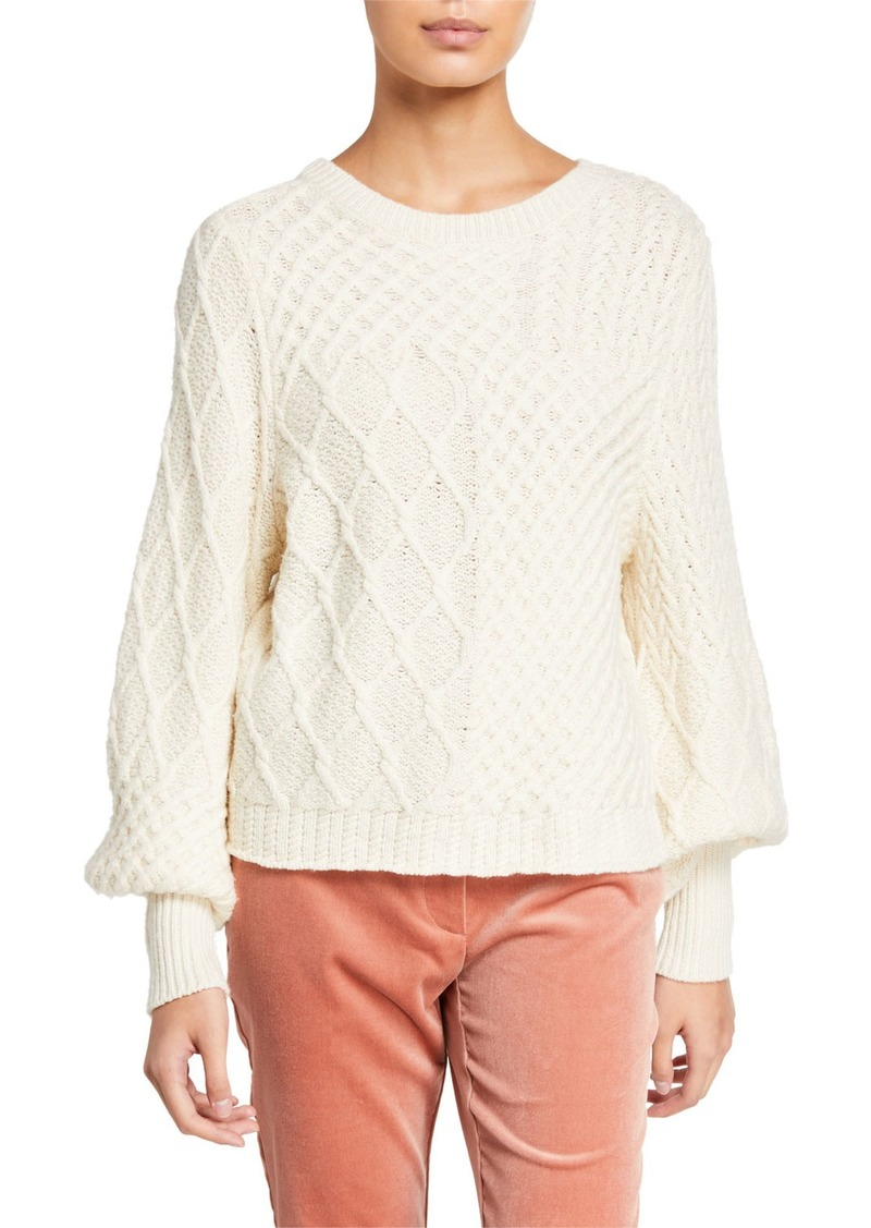 FRAME Patchwork Cable Crewneck Sweater