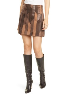 FRAME Patchwork Leather Miniskirt