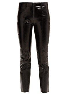 Frame Patent leather cropped trousers