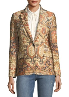 FRAME Persian Single-Breasted Printed Blazer