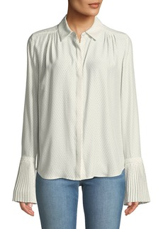 FRAME Pintucked-Cuffs Button-Front Long-Sleeve Dotted Silk Blouse