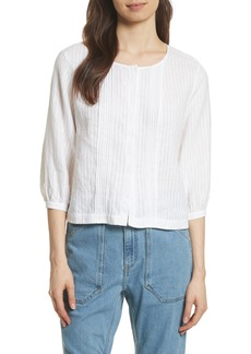 FRAME Pintucked Linen Top