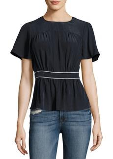 FRAME Piped Short-Sleeve Peplum Silk Top