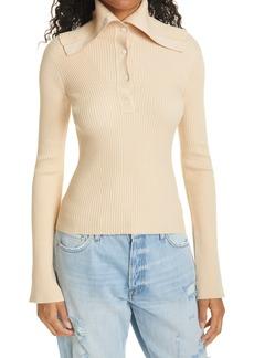 FRAME Platter Collar Silk & Cotton Blend Henley Sweater