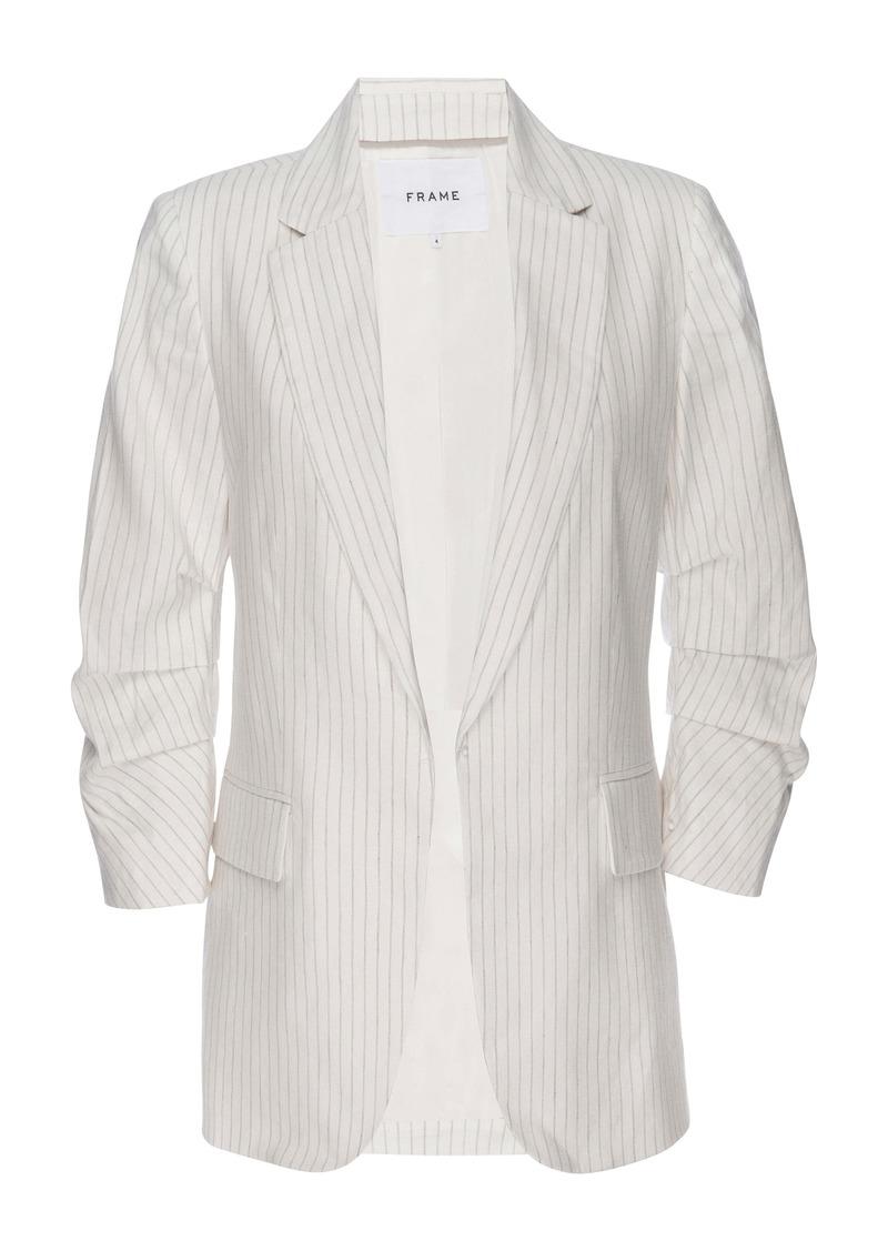 FRAME Pleat Sleeve Linen Blend Boyfriend Blazer