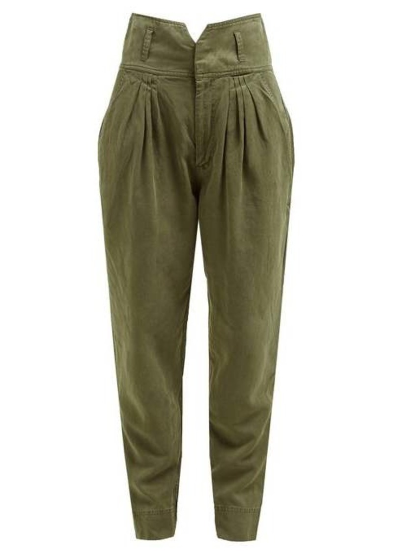Frame Pleated high-rise slim-fit trousers
