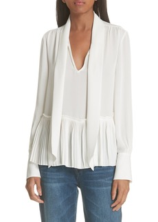 FRAME Pleated Peplum Silk Blouse
