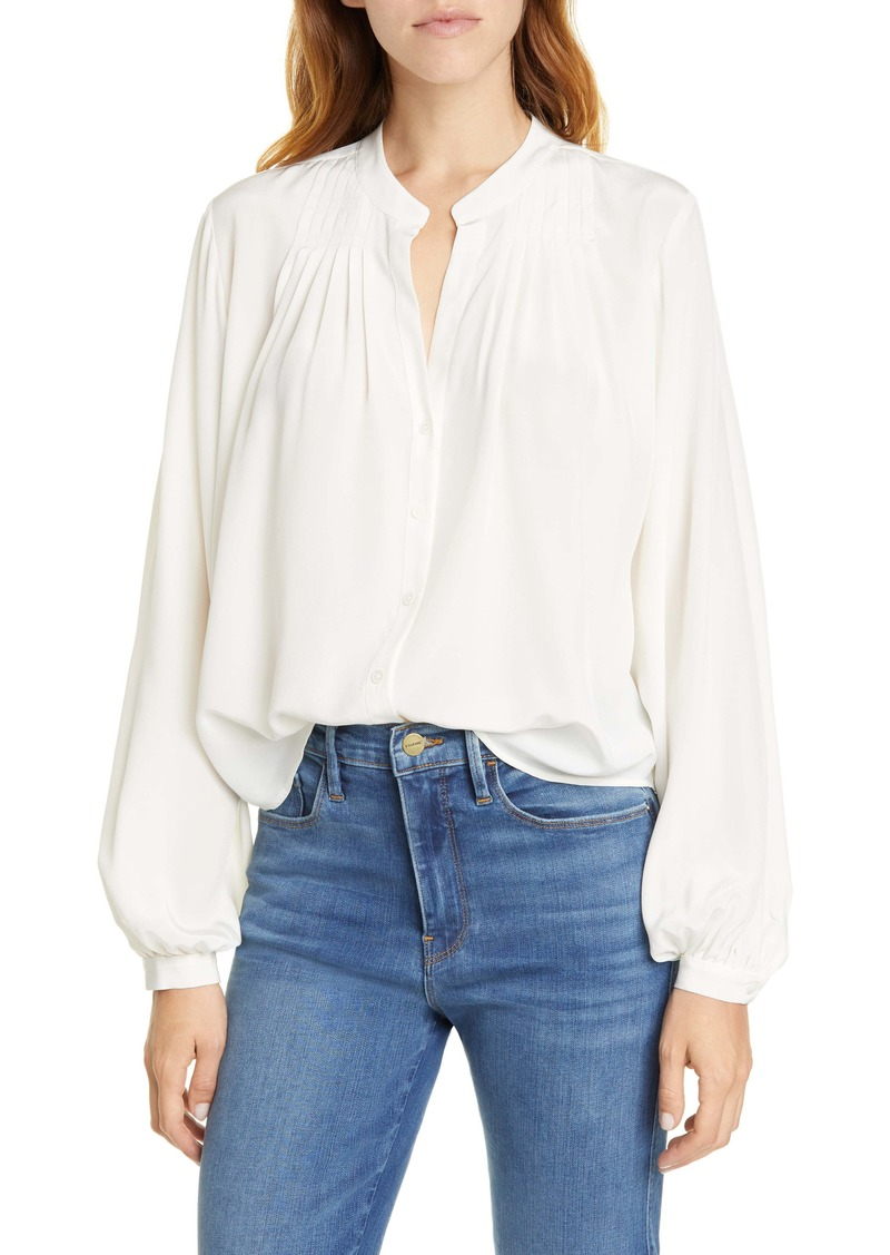 FRAME Pleated Silk Blouse