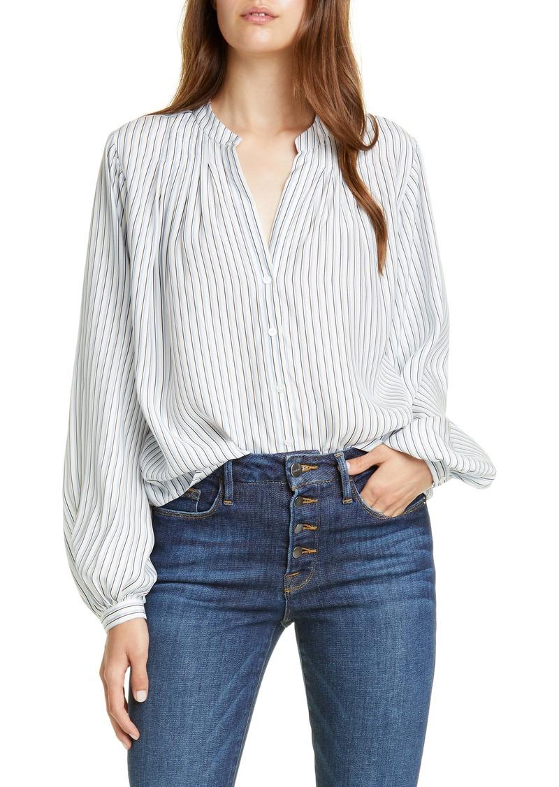 FRAME Pleated Stripe Silk Blouse