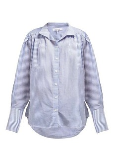Frame Pleated striped cotton shirt