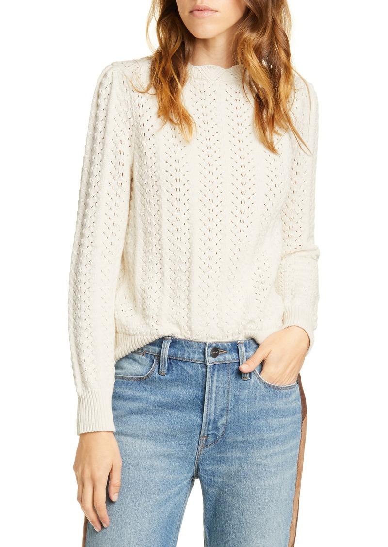 FRAME Pointelle Petal Sweater