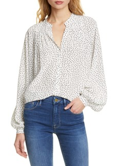 FRAME Polka Dot Pleated Silk Blouse (Nordstrom Exclusive)