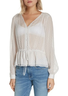 FRAME Polka Dot Silk Blend Blouse (Nordstrom Exclusive)