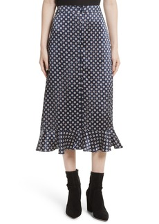 FRAME Print Silk Midi Skirt