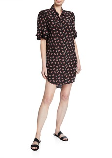 FRAME Printed Button-Front Ruffle-Sleeve Silk Shirtdress