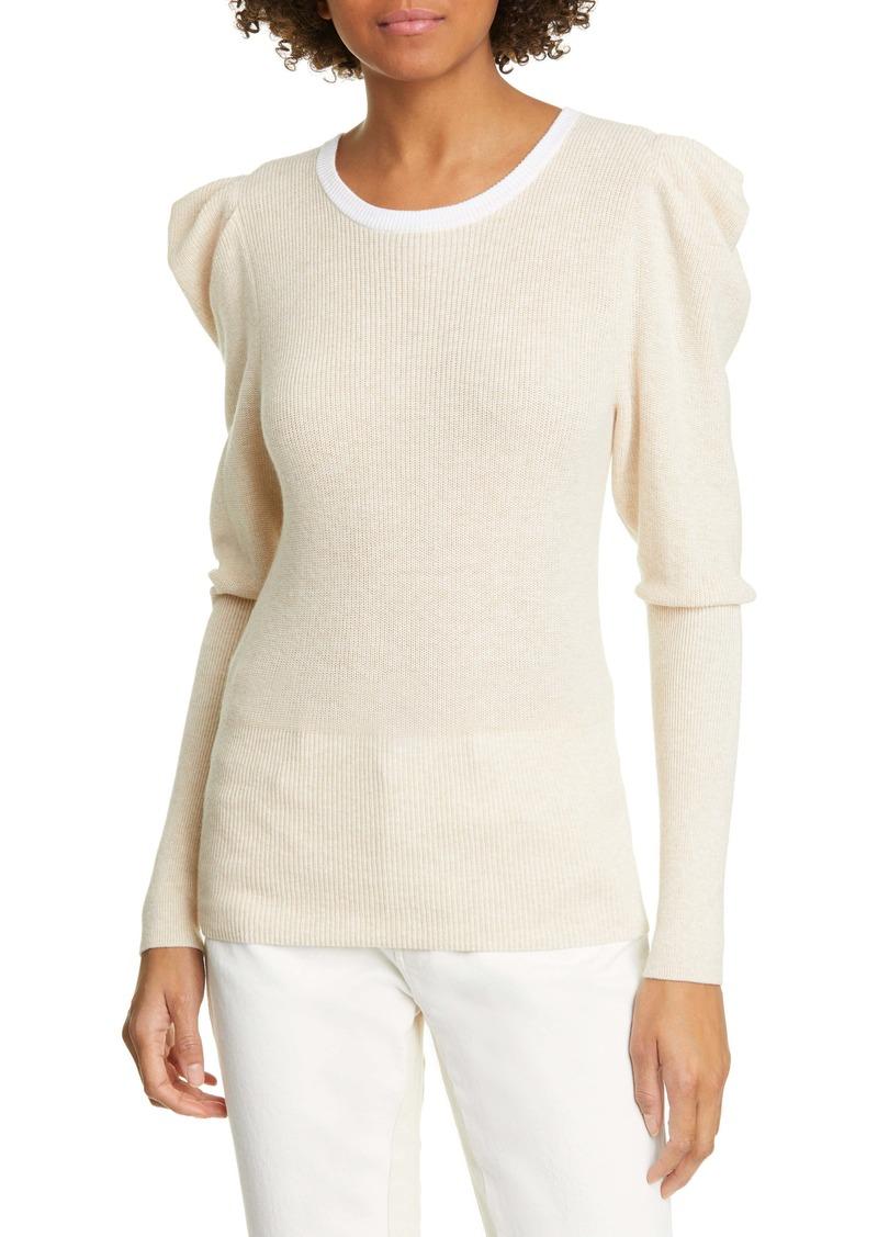 FRAME Puff Shoulder Cotton & Cashmere Sweater