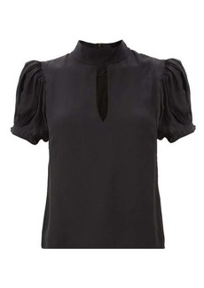 Frame Puffed-sleeve silk blouse