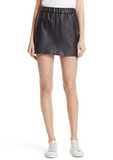 FRAME Pull-On Leather Miniskirt