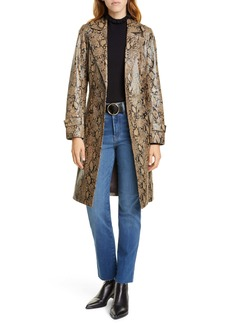FRAME Python Embossed Leather Trench Coat